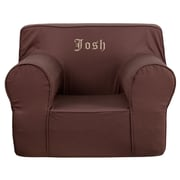 Flash Furniture Cotton Twill Embroidered Oversized Solid Kids Chair, Brown