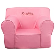 Flash Furniture Cotton Twill Embroidered Oversized Solid Kids Chair, Light Pink