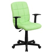 Flash Furniture GO-1691-1-GREEN-A-GG Vinyl Mid-Back Task Chair with Fixed Arms, Green