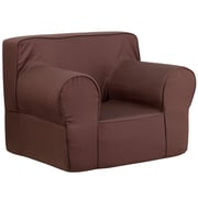Flash Furniture Cotton Twill Oversized Solid Kids Chair, Brown