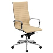 Flash Furniture High-Back Ribbed Leather Executive Office Chair, Tan