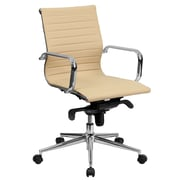 Flash Furniture Mid-Back Ribbed Leather Conference Chair, Tan