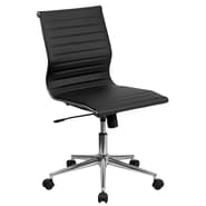 Flash Furniture Mid-Back Armless Ribbed Leather Conference Chair, Black