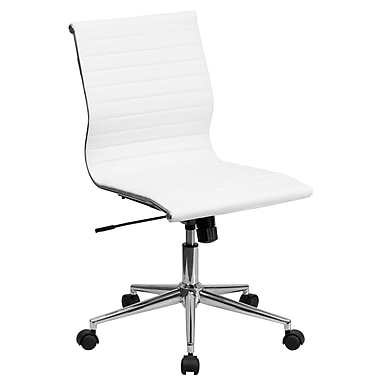Flash Furniture Mid-Back Armless Ribbed Leather Conference Chair, White