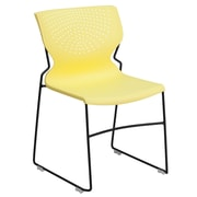Flash Furniture Hercules Series Polypropylene Stackable Chair With Black Frame, Yellow