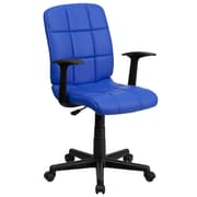 Flash Furniture GO-1691-1-BLUE-A-GG Vinyl Mid-Back Task Chair with Fixed Arms, Blue