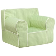 Flash Furniture Cotton Twill Oversized Dot Kids Chair With White Piping, Green