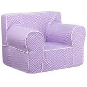 Flash Furniture Cotton Twill Oversized Dot Kids Chair With White Piping, Lavender
