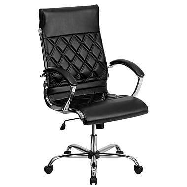 Flash Furniture GO-1297H-HIGH-BK-GG LeatherSoft High-Back Executive Chair with Fixed Arms, Black