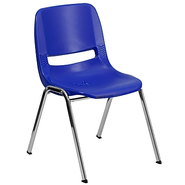 Flash Furniture Hercules Series Molded Plastic Shell Stackable Chair With Chrome Frame, Navy