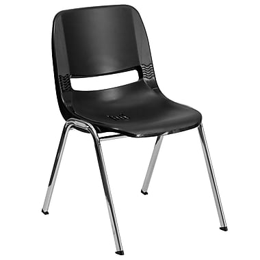Flash Furniture Hercules Series Molded Plastic Shell Stackable Chair With Chrome Frame, Black