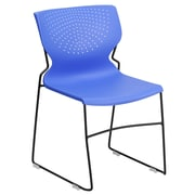 Flash Furniture Hercules Series Polypropylene Stackable Chair With Black Frame, Blue