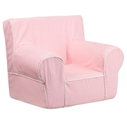 Flash Furniture Cotton Twill Small Dot Kids Chair With White Piping, Light Pink