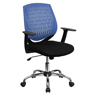 Flash Furniture LF-X6-BLUE-A-GG Fabric Mid-Back Task Chair with Fixed Arms, Blue/Black