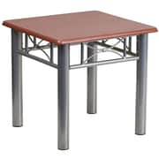 "Flash Furniture 19 3/4"" Laminate End Table with Silver Steel Frame, Mahogany"