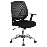 Flash Furniture Mid-Back Padded Foam Fabric Task Chair With Arms, Black