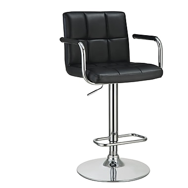 COASTER 43.5'' Contemporary Pedestal Base Vinyl Bar Stool, Black (121095)