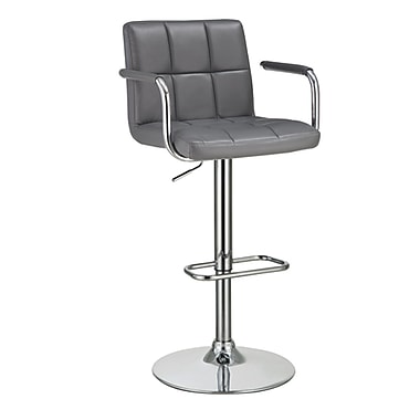 COASTER 43.5'' Casual Pedestal Base Leather Bar Stool, Gray (121096)