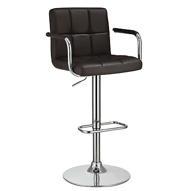 Coaster® Bar Stool with Adjustable Seat and Foot Rest, Brown Leather