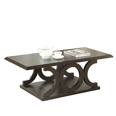 Coaster Wood C-Shaped Wood/Veneer Coffee Table, Cappuccino, Each (703148)