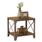 """Coaster® 23"""" Wood End Table With X Motif, Medium Brown"""