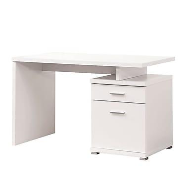 COASTER 47.25'' Rectangular Wood/Veneer Contemporary Computer Desk, Crisp White (800110)