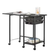 COASTER Folding Desk with Casters, Black (800429)