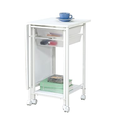 COASTER Folding Desk with Casters, White (800430)