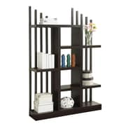"Coaster® 70 3/4"" Wood Open Bookshelf with Staggered Shelves and Slats, Cappuccino"