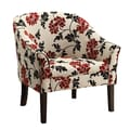 Coaster® Accent Seating Fabric Casual Den Chair With Welt Trim, Red/Beige/Black Floral Print