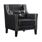Coaster® Accent Seating Leather Wing Chair With Nail Heads, Black