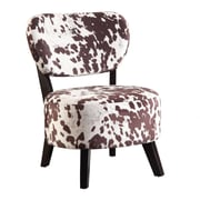 Coaster® Accent Seating Velvet Accent Chair With Round Seat, Brown/White Cow Print