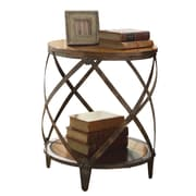 Coaster® 24 Drum Shape Metal Accent Table, Warm Brown