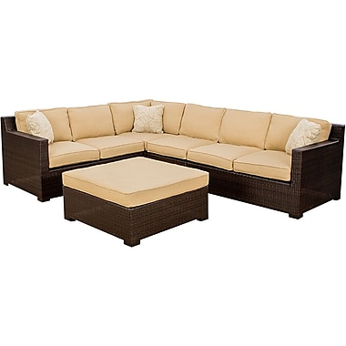 Hanover™ Metropolitan 5-Piece Lounge Patio Seating Set, Dark Brown/Beige Jasmine/Sahara Sand