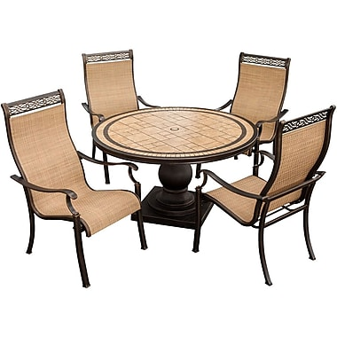 Hanover™ Monaco 5-Piece Sling Chair and Table Outdoor Patio Dining Set, Bronze/Copper Metallic