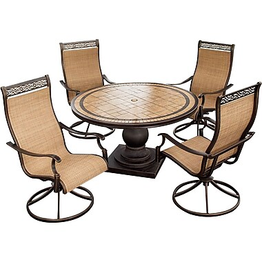 Hanover™ Monaco 5-Piece Swivel Chair and Table Patio Dining Set, Bronze/Copper Metallic