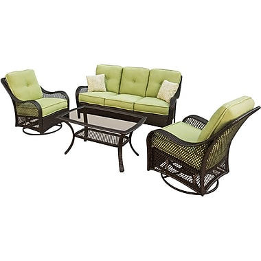 Hanover™ Orleans 4-Piece Patio Seating Set, Brown/Tan/Green Avacado