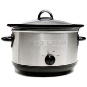 Chefman® 6 qt. Round Slow Cooker With Removable Stoneware Crock, Stainless Steel/Black