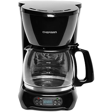 Chefman® 12-Cup Programmable Drip Coffee Maker With Glass Carafe, Black