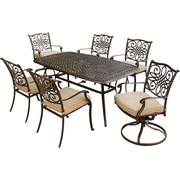 Hanover™ Traditions 7-Piece Outdoor Patio Dining Set, Bronze/Copper Metallic/Natural Oat