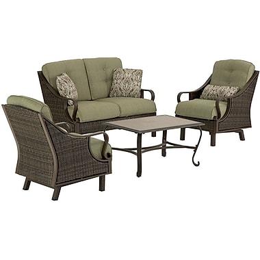 Hanover™ Ventura 4-Piece Patio Seating Set, Brown/Tan/Fern