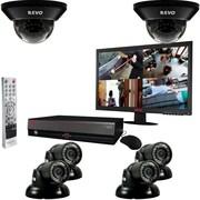 """REVO™ 8CH 1TB DVR Surveillance System W/700TVL 2 Dome 4 Mini Turret Cameras & 18 1/2"""" Monitor, Black"""