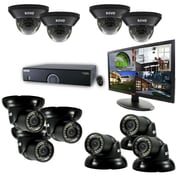 "REVO™ 16CH 4TB DVR Surveillance System W/700TVL 4 Dome 6 Mini Turret Camera & 21 1/2"" Monitor, Black"