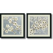 "Amanti Art ""Silver Blossoms - Set of 2"" Framed Art by Elise Remender"