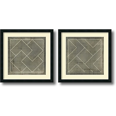 """""Amanti Art """"""""Geometric Blueprint III and IV - Set of 2"""""""" Framed Art by Vision Studio"""""" 1208981"