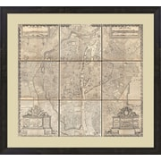 Evive Designs 1652 Gomboust 9 Panel Map of Paris, France Framed Graphic Art
