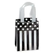 Shamrock Printed Frosted Bag with Soft Loop Handles, Dots and Stripes/Black, 5X3X7