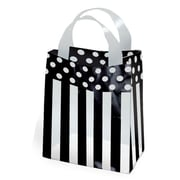 Shamrock Printed Frosted Bag with Soft Loop Handles, Dots and Stripes/Black, 8X4X10