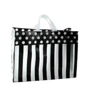 Shamrock Printed Frosted Bag with Soft Loop Handles, Dots and Stripes/Black, 16X6X12