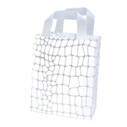 Shamrock Printed Frosted Bag with Soft Loop Handles, White Croc, 8X4X10